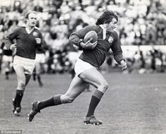 Legends of the game: Andy Irvine makes a dash on the Lions' 1974 South Africa tour (above), while Gerald Davies (below left) is in support…