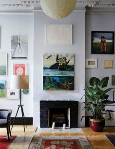 White Gallery Wall-love two paintings over the fireplace