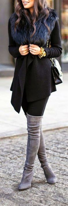 Keep it chic & glam this winter in a dramatic faux fur collar and over-the-knee boots.