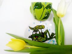 Handmade by Do : Painted plate and cup- happy frog/ Farfurioară şi . Painted Plates, December, Happy, Blog, Handmade, Painting, Hand Made, Painting Art, Blogging