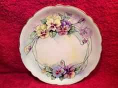 Antique Hand Painted JPL Limoges Pansy Flowers Plate C 1890 1932 L250 | eBay