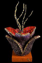 SIMPLY TULIP (Julee Latimer) Tags: red sculpture black flower glass gold mirror beads purple mosaic contemporary interior tulip