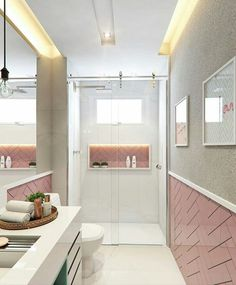 Small bathroom furnishings: 60 perfect ideas and designs .- Small bathroom, decorated in white and pink - Bathroom Design Small, Bathroom Interior Design, Modern Bathroom, Minimalist Bathroom, Large Bathrooms, Contemporary Bathrooms, Bathroom Designs, Easy Home Decor, Home Decor Trends
