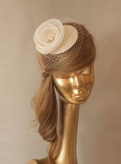 Bridal Champagne Taffeta Fascinator with Ivory Veil Decorated with ivory crinoline It is very comfortable and easy to wear, mounted on a clip or Millinery Hats, Fascinator Hats, Fascinators, Ivory Veil, Fancy Hats, Bridal Hair Pins, Wedding Hats, Wedding Hair Accessories, Bridal Headpieces