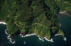 Long and windy road to Hana, Maui.  We drove through part of the Haleakala National Park along the way - 2003