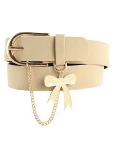 d4a4c0982106 Chain and Bow Leather Belt in Cream - Karen Walker - Shop by Designer
