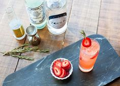 The Bulls Eye, a beautiful, easy-drinking cocktail made with vodka, vermouth and strawberry shrub.