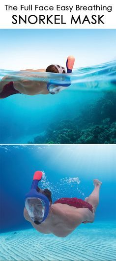 This is the full-face mask with an integrated snorkel that allows you to explore underwater realms while breathing as naturally as you would on terra firma. Available exclusively from Hammacher Schlemmer, the mask covers your entire face, making it easy to breathe comfortably through your nose or mouth, and eliminating the discomfort of biting down on a traditional snorkel's mouthpiece.