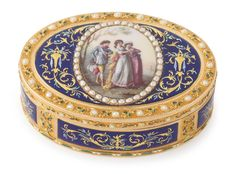 A gold and enamel snuff box, maker's mark IF, Swiss or German, circa 1790 -- cover mounted with an oval miniature of a fashionable youth approaching two girls in split-pearl border, the base with an altar and a pair of birds marked inside cover and base with maker's mark IF crowned incuse | Sotheby's n09491lot8vw5ben