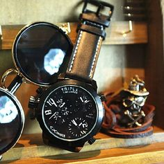 Stan vintage watches — Oversized dial men's fashion personality belt quartz watch (WAT00100-2)