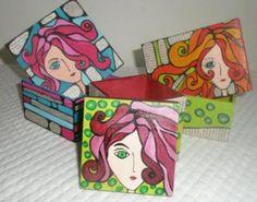 cajas fibrofacil, pintadas cajas artesanales, pintadas a mano fibrofacil,acrilico,impermeabilizante pintadas a mano