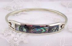 Alpaca Silver Abalone Shell Bangle Bracelet Hook Closure Fashion Jewelry NEW #Tesoros