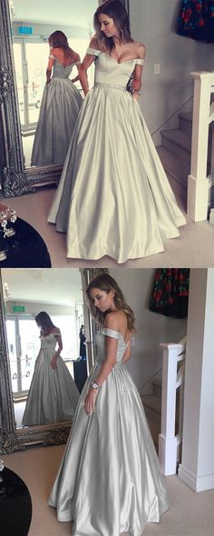 Silver Gray Satin V-neck Prom Long Dresses Off-the-shoulder Evening Gowns