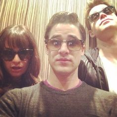 Pin for Later: It's Cute Friends and Fun Vacations in This Week's Best Celebrity Candids  Lea Michele snapped a sunglasses selfie with her Glee costars Darren Criss and Chord Overstreet on set. Source: Instagram user msleamichele