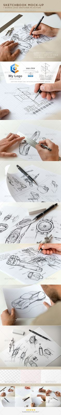 Sketchbook Mock-Up - Miscellaneous Print. Save time and make your brand look eye candy with this photorealistic sketchbook mock-ups. Easy to place your designs using smart objects, double-click the Smart Layer, copy & paste your artwork, save and you're done!
