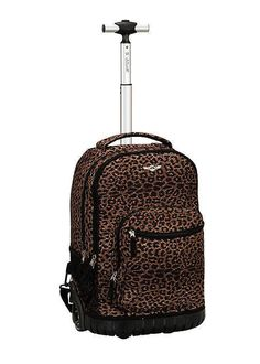 Rolling Backpack Rockland Sedan Leopard School Bookbag CarryOn 19in Animal Print