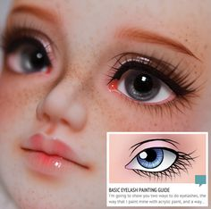Painting a doll face, basic eyelash painting. More Painting a doll face, basic eyelash painting. Custom Monster High Dolls, Monster High Repaint, Custom Dolls, Doll Repaint Tutorial, Doll Tutorial, Doll Face Paint, Doll Painting, Clay Dolls, Bjd Dolls