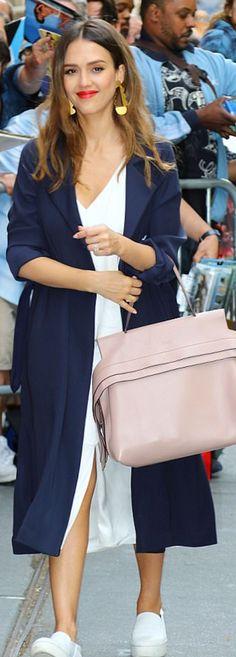 Who made  Jessica Alba's blue coat, white sneakers, and nude handbag?