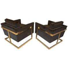 "Brass And Velvet ""Cube"" Chairs By Milo Baughman For Thayer Coggin"
