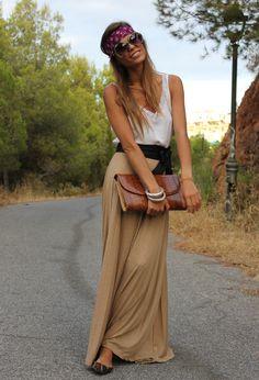 Long Camel Skirt  , Bershka in Skirts, Primark in Flats, Mango in Glasses / Sunglasses