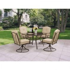 Beautiful Wrought Iron Patio Dining Set 5 Piece Outdoor Furniture Tan #WoodlandHills  #Contemporary