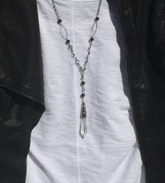 Unique Piece Chic Large Chain Necklace Crystal by OliviaLolaBijoux