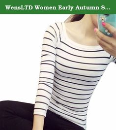 WensLTD Women Early Autumn Slim Round Neck Long Sleeve Striped Bottoming Shirt Blouse Tops (XXL, White). NOTE: Please compare the detail sizes with yours before you buy!!! Use similar clothing to compare with the size. Specifications: 100% brand new and high quality. Gender: Women Style: Fashion Material: Polyester Pattern: Stripe Decoration: None Neckline: Round Neck Sleeve: Full Clothing Length: Regular Color; Black, White Package include:1PC Shirt.