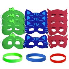 12 childrens felt masks and youth wristbands inspired for a PJ Masks Party. Perfect party favors for PJ Masks inspired party or your superheros.