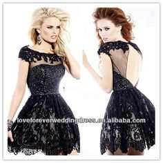 Black Sherri Hill Scoop Cap Sleeve Backless Short 2014 New Fashion Style Lace Prom Dress with Beading