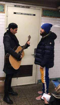 Jared Leto and Stevie Aiello in NYC. Shannon Leto, 30 Seconds, Jared Leto, Canada Goose Jackets, Mars, Eye Candy, Winter Jackets, Nyc, Artist