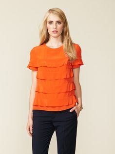 Silk Crepe Tiered Flutter Blouse by See by Chloe on Gilt.com
