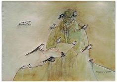 "Saatchi Art Artist Remigiusz Dobrowolski; Painting, ""Birdman- composer feeding birds..."" #art"