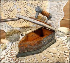"""Купить Утюг-шкатулка """"La lingere"""" - кружева, деревянный, единственный экземпляр, игольница, серебряный"""