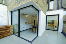 How about opening up you space with sliding corner doors! Slim glass panels slide and hide inside wall pocket creating convenient and spacious opening. - May 12 2019 at House Extension Plans, House Extension Design, House Design, Extension Ideas, Extension Designs, Rear Extension, Sliding Door Design, Sliding Glass Door, Sliding Doors