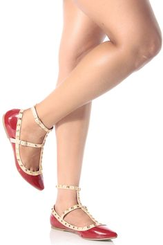 Red Patent Studded Pointed Toe Flats @ Cicihot Flats Shoes online store:Women's Casual Flats,Sexy Flats,Black Flats,White Flats,Women's Casual Shoes,Summer Shoes,Discount Flats,Cheap Flats,Spring Shoes