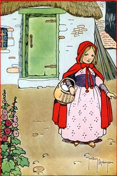 Red Riding Hood cartoon style, with basket, brick home in background, no wolf.