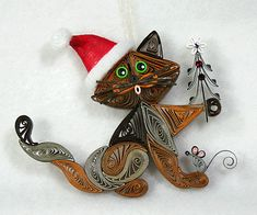 Santas Helper Kitty Cat Hanging Ornament Brown by AGiftwithinaGift