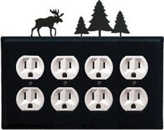Moose & Pine Trees - Quad. Outlet Cover