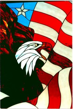 Old Glory's Guardian - by Stained Glass Master