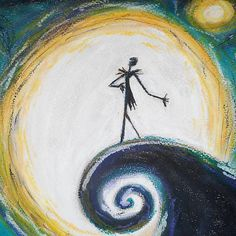 Oil Pastel Disney Drawing of The nightmare Before Christmas