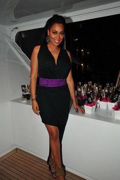 La La celebrating the debut of her new makeup line, Motives for La La