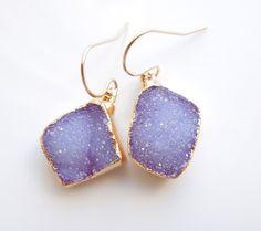 Druzy Earrings in Periwinkle Blue Purple by 443Jewelry on Etsy, $110.00