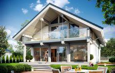 Projekt domu Otwarty 2 - wizualizacja tylna Cabin House Plans, Dream House Plans, House Front Design, Modern House Design, Facade Design, Architecture Design, Casa Patio, Artist Loft, Dream House Exterior