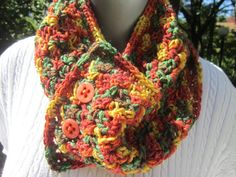 Crocheted Fall Colors Cowl by crochetedbycharlene on Etsy