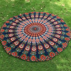 Mandala Feather Chiffon Round Beach Throw - PURPLISH BLUE ONE SIZE