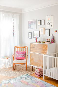 A light and bright nursery complete with vintage items and a superb gallery wall. Nursery Room, Kids Bedroom, Nursery Decor, Kids Rooms, Baby Room, Toddler Rooms, Room Kids, Nursery Ideas, Bright Nursery