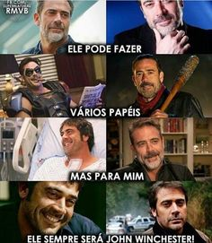 This translates to he can do various roles but to me he will always be John Winchester to me; btw to me this is true Funko Pop Supernatural, Supernatural Series, Winchester Supernatural, Castiel, Supernatural Fandom, John Winchester, Spn Memes, Funny Memes, Grey's Anatomy