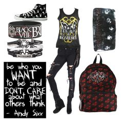 """black veil brides (created by my sister)"" by prettier6feetunder ❤ liked on Polyvore featuring Tripp and Converse"