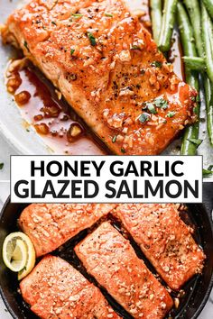 This baked Honey Garlic Salmon is easy and impressive! Moist, perfect salmon pan fried and baked in the oven, topped with an easy honey garlic pan sauce. One of the best easy and healthy salmon recipes! Healthy Salmon Recipes, Honey Recipes, Fish Recipes, Seafood Recipes, Cooking Recipes, Pan Fried Salmon, Oven Baked Salmon, Cena Light, Garlic Salmon