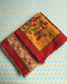 Mustard and Red Kota Saree with Blouse